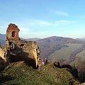 Magura Stebnicka, ruiny zamku Zborov, Pohorelá i Koldorina z zamku Zborov #góry #beskidy #BeskidNiski #PogórzeOndawskie #MaguraStebnicka #ZamekZborov