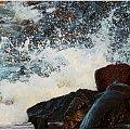 Fale rozbijając się o kamienie przybierają różne kształty ... wyobraźnia nie zna granic :) #Kołobrzeg #plaża #karnawał #taniec #kamienie #fala