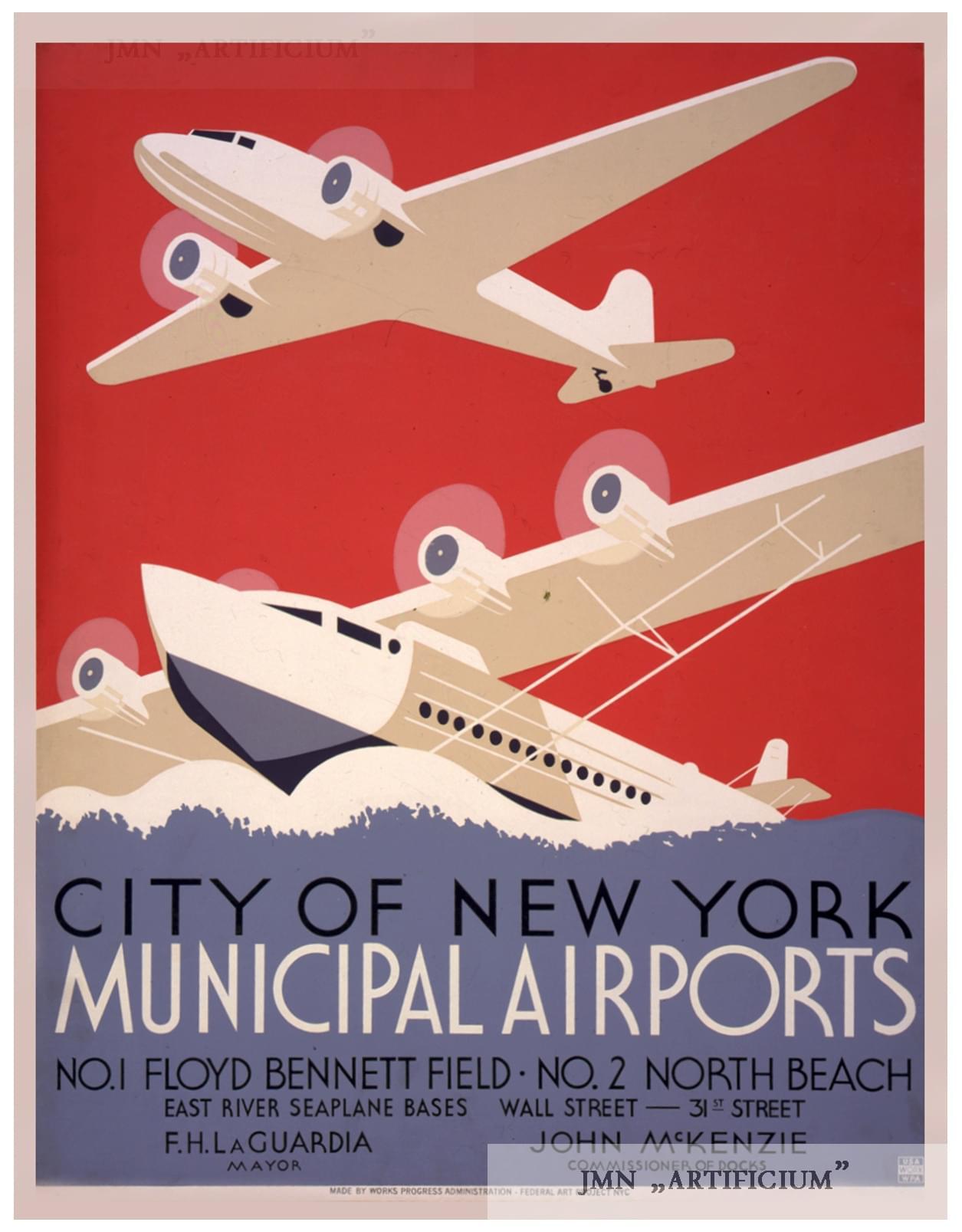 NEW YORK MUNICIPAL AIRPORT A3 vintage retro travel /& railways posters print #3